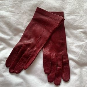 Red REAL Leather Gloves